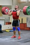Orenburg, Russia, December 17, 2017 years: the boys compete in weightlifting. For the Cup and Championship weightlifting area royalty free stock image