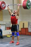 Orenburg, Russia, December 17, 2017 years: the boys compete in weightlifting. For the Cup and Championship weightlifting area stock photos