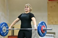 Orenburg, Russia, December 16, 2017 years: the girls compete in weightlifting Stock Photos