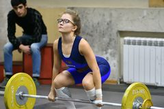 Orenburg, Russia, December 16, 2017 years: the girls compete in weightlifting stock images