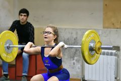 Orenburg, Russia, December 16, 2017 years: the girls compete in weightlifting stock photo