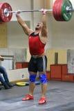 Orenburg, Russia - 15 - 17 Dezember 2017 Jahr: Men compete in weightlifting Royalty Free Stock Photo
