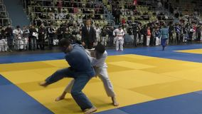 Orenburg, Russia – 5 February 2016: boys compete in judo stock footage