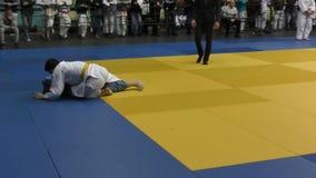Orenburg, Russia – 5 February 2016: boys compete in judo stock video footage