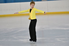Orenburg, Russia - February 20, 2017 year: Boys compete in figure skating Stock Photos