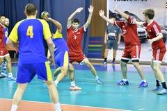 Orenburg, Russia - 11-13 February 2018 year: boys play in handball Stock Photos