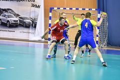 Orenburg, Russia - 11-13 February 2018 year: boys play in handball Royalty Free Stock Photo
