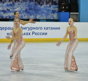 Orenburg, Russia - February 20, 2017 year: Girls compete in figure skating Royalty Free Stock Images