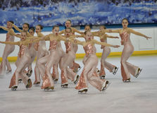 Orenburg, Russia - February 20, 2017 year: Girls compete in figure skating Stock Photography