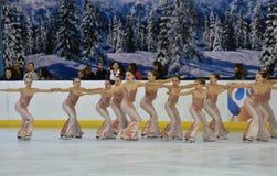 Orenburg, Russia - February 20, 2017 year: Girls compete in figure skating Stock Photos