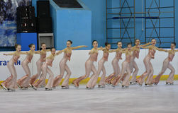Orenburg, Russia - February 20, 2017 year: Girls compete in figure skating Royalty Free Stock Photography