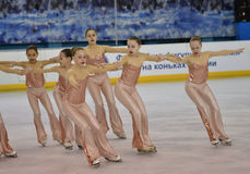 Orenburg, Russia - February 20, 2017 year: Girls compete in figure skating Royalty Free Stock Image