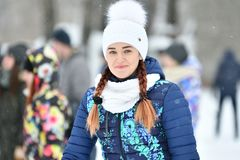 Orenburg, Russia - 26 gennaio 2017 anno: Gioco degli studenti nei giochi di inverno Fotografie Stock