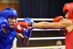 Orenburg, Russia - January 21, 2017 year : Boys boxers compete Stock Photography