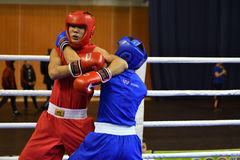 Orenburg, Russia - January 21, 2017 year : Boys boxers compete Royalty Free Stock Photo
