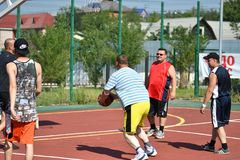 Orenburg, Russia - July 30, 2017 year: men play Street Basketball Royalty Free Stock Photo