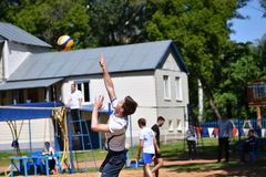 Orenburg, Russia, 9-10 June 2017 year: Boys playing beach volleyball Royalty Free Stock Photography