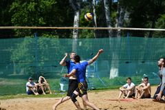 Orenburg, Russia, 9-10 June 2017 year: Boys playing beach volleyball Royalty Free Stock Photo