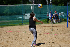 Orenburg, Russia, 9-10 June 2017 year: Girl playing beach volleyball on City tournament Beach Volleyball �Golden Sands� Royalty Free Stock Photo