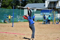 Orenburg, Russia, 9-10 June 2017 year: Girl playing beach volleyball Royalty Free Stock Image