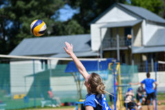 Orenburg, Russia, 9-10 June 2017 year: Girl playing beach volleyball. On City tournament Beach Volleyball `Golden Sands stock image