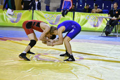 Orenburg, Russia 16 March 16, 2017 year: Boys compete in freestyle wrestling Stock Photo