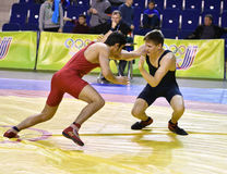 Orenburg, Russia - March 16, 2017 year: Boys compete in freestyle wrestling. On privolzhskiy Federal District Championships among boys 2001-2000 biennium of Stock Photos