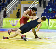 Orenburg, Russia - March 16, 2017 year: Boys compete in freestyle wrestling. On privolzhskiy Federal District Championships among boys 2001-2000 biennium of Royalty Free Stock Images