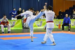 Orenburg, Russia - March 5, 2017 year: Boys compete in karate Stock Image