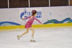 Orenburg, Russia - March 31, 2018 year: Girls compete in figure skating Royalty Free Stock Photo