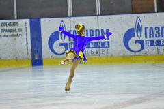Orenburg, Russia - March 25, 2017 year: Girls compete in figure skating Royalty Free Stock Photo