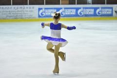 Orenburg, Russia - March 25, 2017 year: Girls compete in figure skating Royalty Free Stock Photos