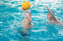 Orenburg, Russia - 6 May 2015: The boys play in water polo Stock Photos