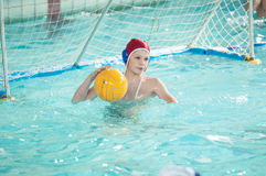 Orenburg, Russia - 6 May 2015: The boys play in water polo Royalty Free Stock Images