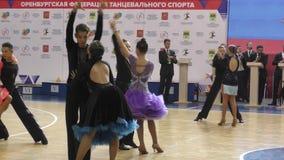 Orenburg, Russia - May 25, 2019: Girl and boy dancing.