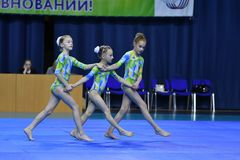 Orenburg, Russia, 26-27 May 2017 year years: girl compete in sports acrobatics. Orenburg, Russia, 26-27 May 2017 year: girl compete in sports acrobatics at the stock image