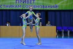 Orenburg, Russia, 26-27 May 2017 year years: girl compete in sports acrobatics. Orenburg, Russia, 26-27 May 2017 year: girl compete in sports acrobatics at the royalty free stock photography
