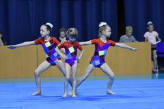 Orenburg, Russia, 26-27 May 2017 year years: girl compete in sports acrobatics. Orenburg, Russia, 26-27 May 2017 year: girl compete in sports acrobatics at the royalty free stock images