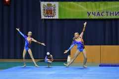Orenburg, Russia, 26-27 May 2017 year years: girl compete in sports acrobatics. Orenburg, Russia, 26-27 May 2017 year: girl compete in sports acrobatics at the royalty free stock photo