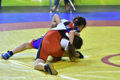 Orenburg, Russia-May 5, 2017 year: Girls compete in freestyle wrestling Stock Photo