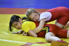 Orenburg, Russia-May 5, 2017 year: Girls compete in freestyle wrestling Stock Image