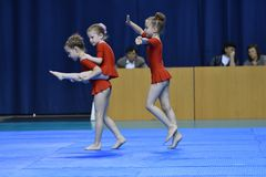 Orenburg, Russia, 26-27 May 2017 year years: girl compete in sports acrobatics. Orenburg, Russia, 26-27 May 2017 year: girl compete in sports acrobatics at the royalty free stock photos