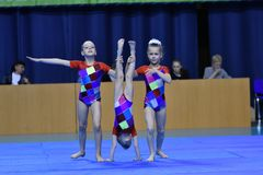 Orenburg, Russia, 26-27 May 2017 year years: girl compete in sports acrobatics. Orenburg, Russia, 26-27 May 2017 year: girl compete in sports acrobatics at the stock photography