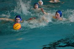 Orenburg, Russia - May 4, 2017 years: the boys play in water polo Royalty Free Stock Images