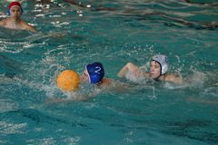 Orenburg, Russia - May 4, 2017 years: the boys play in water polo Stock Photos