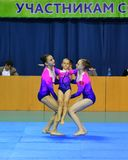 Orenburg, Russia, 26-27 May 2017 years: Juniors compete in sports acrobatics Stock Image