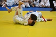 Orenburg, Russia - 05 November 2016: Boys compete in Judo. On VI city Judo tournament on prizes the head of the city of Orenburg Stock Photos