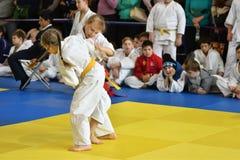 Orenburg, Russia - 05 November 2016: Girls compete in Judo Stock Photo