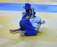 Orenburg, Russia - 21 October 2016: Boys compete in Judo Stock Photography