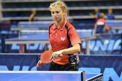 Orenburg, Russia - September 15, 2017 year: girl playing ping pong Stock Photo